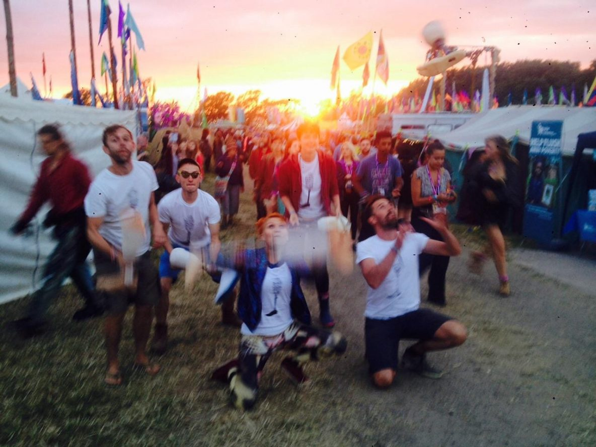 The team at a festival