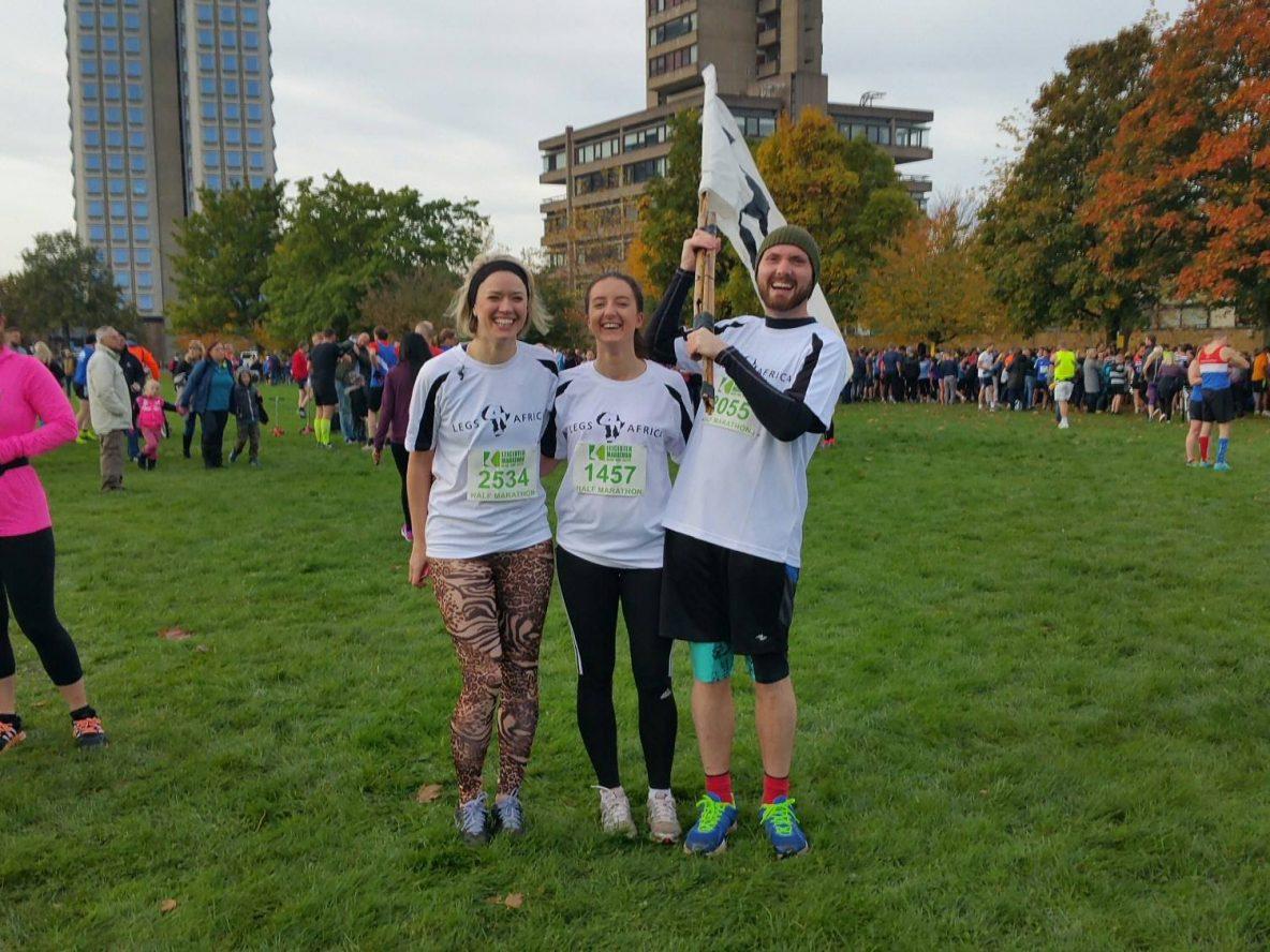 three people in a marathon