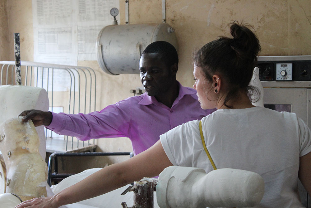 people in a legs workshop in Uganda