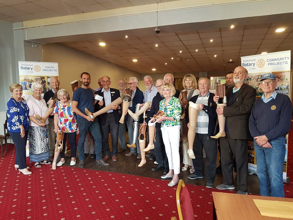 Men and women from the Portishead rotary club with prosthetic legs