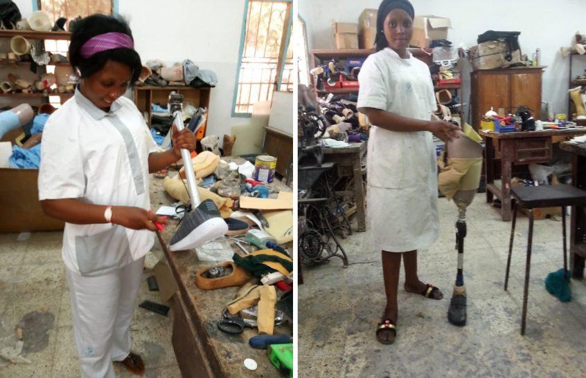 Women assembling legs